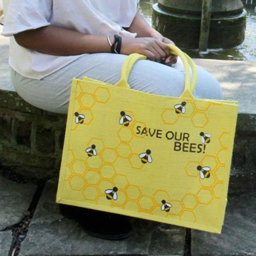 Save Our Bees Jute Shopping Bag