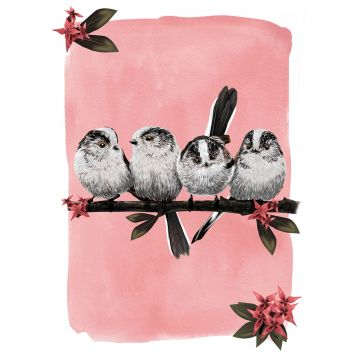 Myrte Long-Tailed Tit Greeting Card
